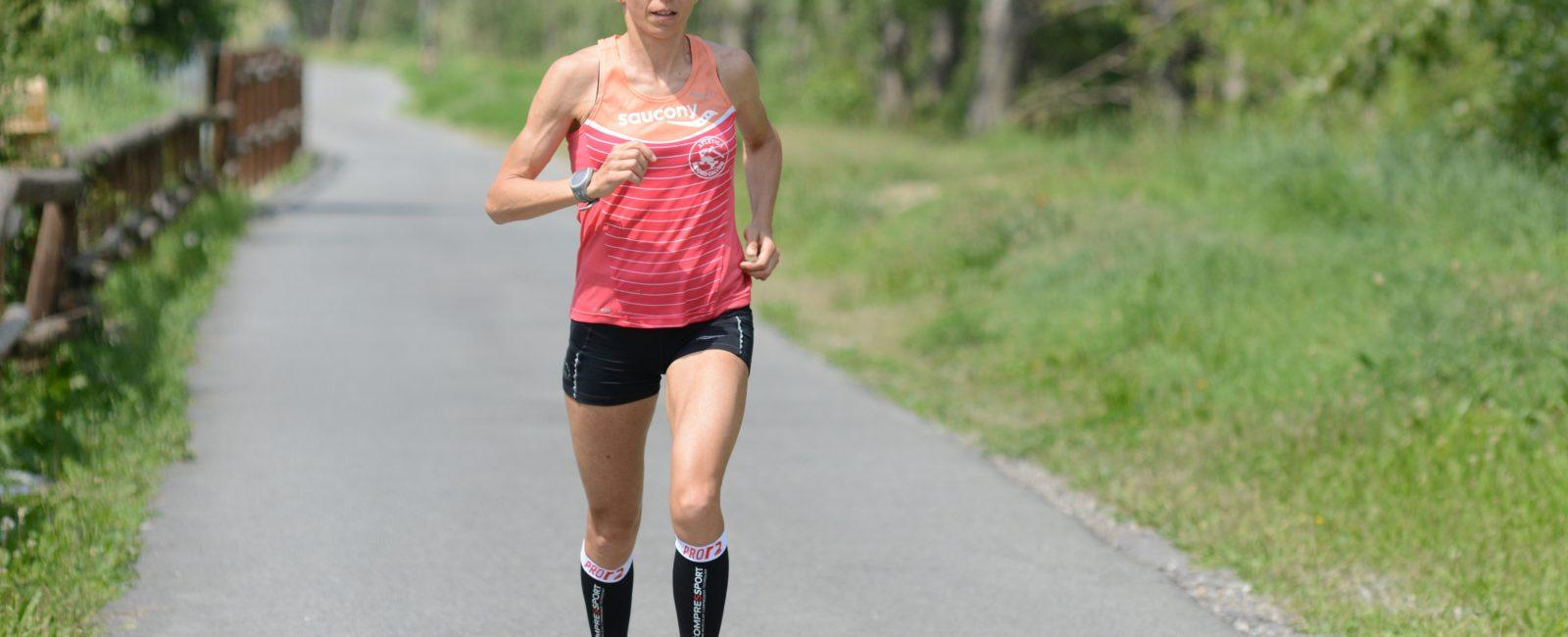 Catherine Bertone durante una gara