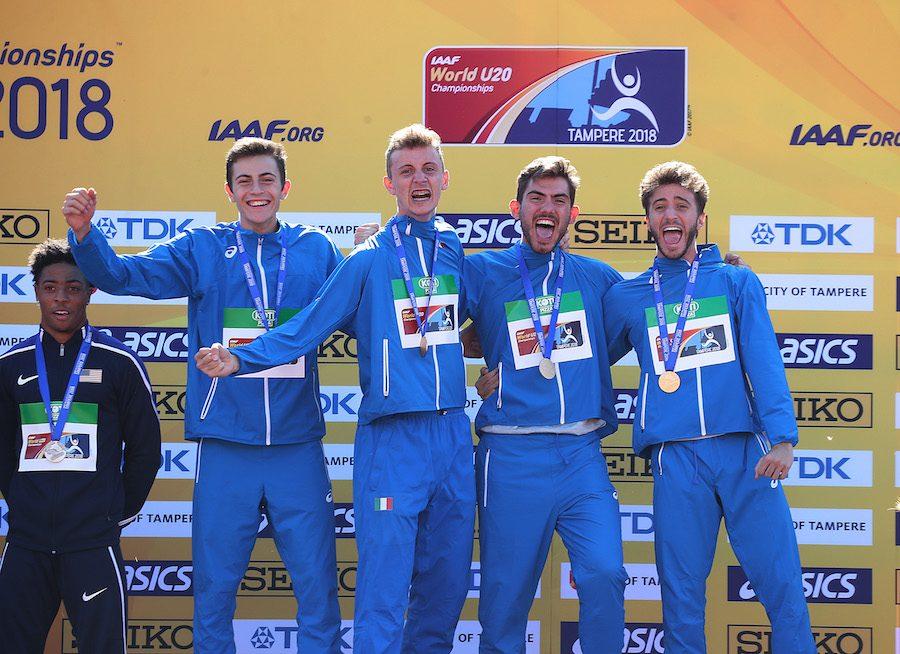 Alessandro Sibilio, Edoardo Scotti, Klaudio Gjetja e Andrea Roma: oro nella 4x400 maschile nel mondiale under 20
