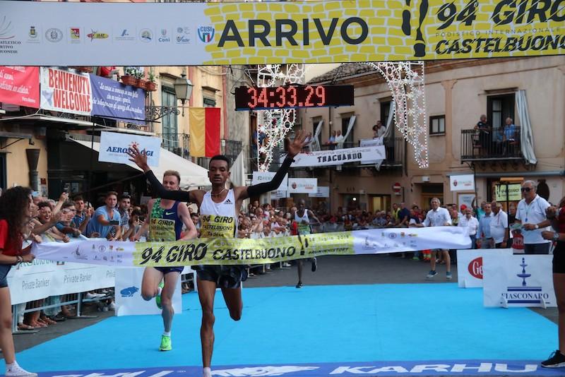Giro Podistico di Castelbuono: Tadesse all'arrivo